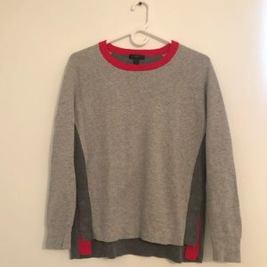 J. Crew Gray + Red Colorblock Sweater   Small